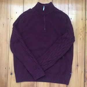 Nautica Quarter Zip Mock Neck Pullover